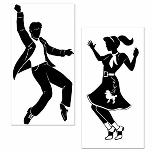 (LARGE 50's Sock Hop ROCK N ROLL Elvis DANCERS Grease Party Decoration)