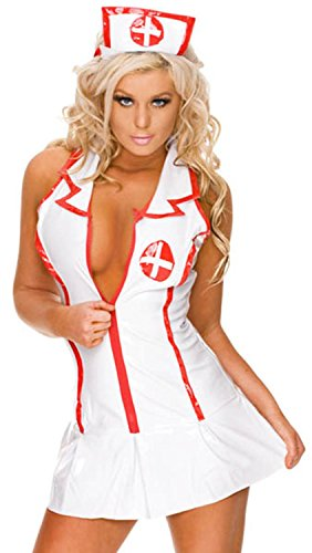 Girls Superhero Costumes Asda (IF FEEL Women's Sexy Nurse Uniforme Cosplay Costume Set For Halloween (XL, LC9002))
