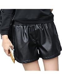 Women's Strechy Waist Faux Leather Casual Black Shorts
