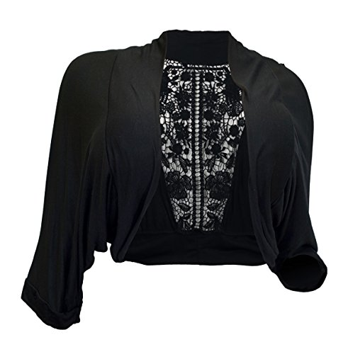 EVogues Plus Size Floral Laced Back Cropped Bolero Shrug Black - 3X