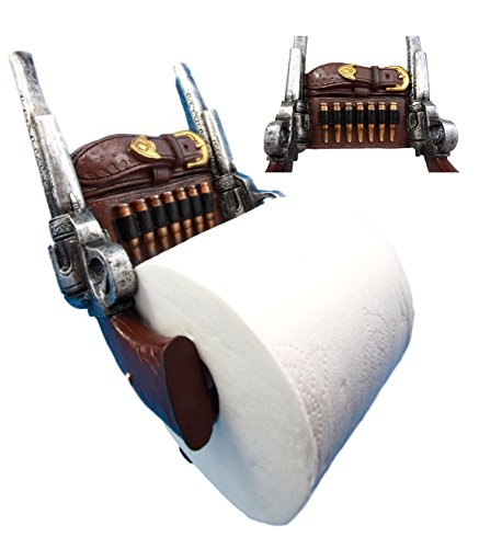 Atlantic Collectibles Western Cowboy Six Shooters Pistol With Ammo Strap Belt Toilet Paper Holder Bathroom Wall Decoration 9 5 H
