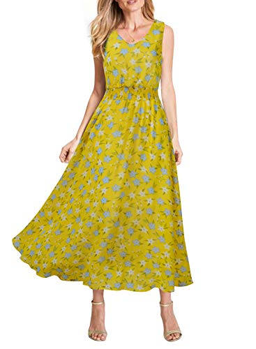 (REPHYLLIS Women Summer Chiffon V Neck Vintage Print Floral Maxi Beach Long Dress (Yellow Blue, L))