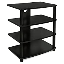 Mount-It! Media Stand Furniture Home Entertainment Center with 4 Wood Shelves for LCD LED 4K TV, Xbox 1, PlayStation, Monitors, Speakers, Cable Management Holes, Black (MI-868)