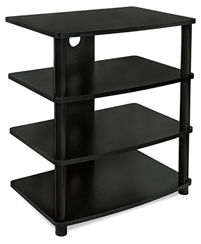 Mount-It! Media Stand Entertainment Center For TV, Audio Video Components, Stereo Equipment, Gaming Consoles, Streaming Devices, 4 Shelves, Black (Tv Stand Tall Narrow)