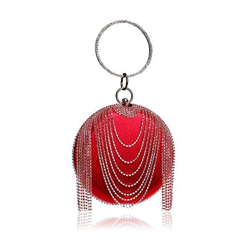 European dress and evening trade FLY Fly53 bag foreign evening ladies tassel RED bag American handbag rhinestone Red Color EzwqOBO5