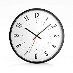 Driini Modern Analog Wall Clock (12) - Large, Easy to Read Numbers; Orange Second Hand; Metal Frame - Battery Operated with Silent Sweep Hands - Contemporary Décor for Office,Living Room, or Kitchen