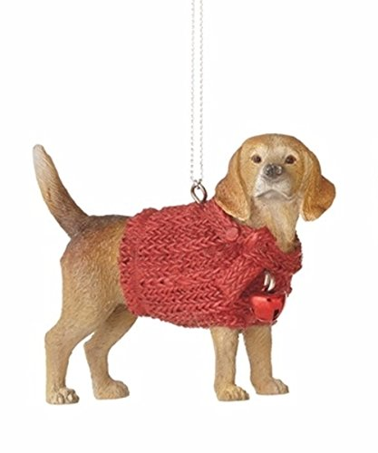 (Lap Dog in Red Sweater Holiday Christmas Ornament (Beagle))