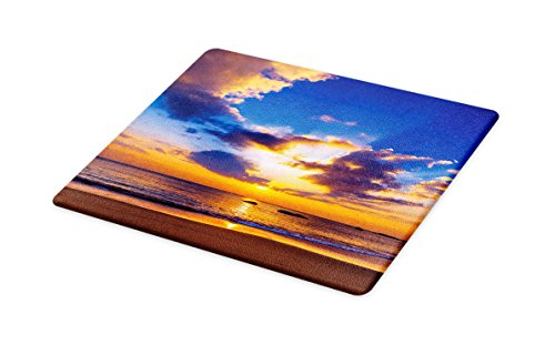 (Lunarable Coastal Cutting Board, Colorful Sunset Reflection Over Ocean in The Evening Horizon Romantic Scene Image, Decorative Tempered Glass Cutting and Serving Board, Large Size, Orange)