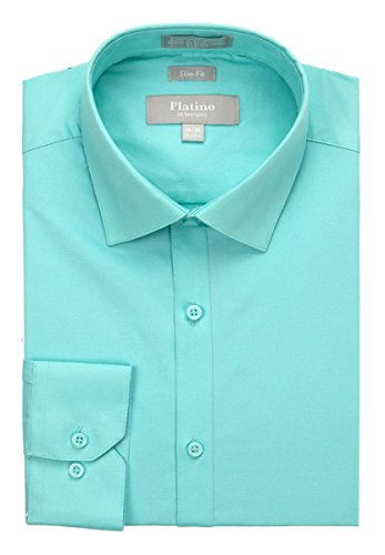 MARQUIS Men's Slim Fit Spandex Dress Shirt Large (Aqua Stretch Dress)