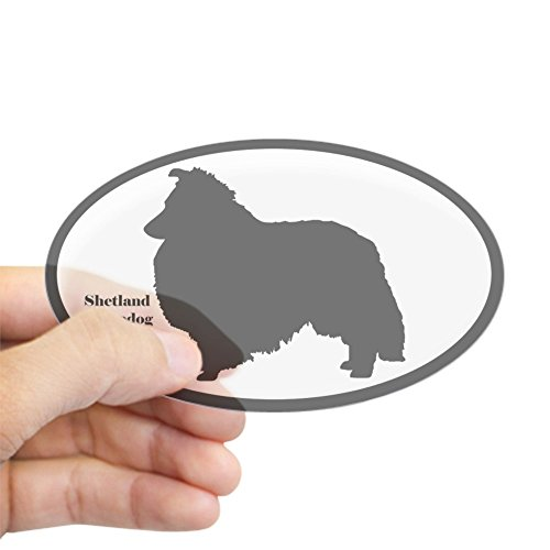 heepdog Silhouette Sticker (Euro Style) Oval Bumper Sticker, Euro Oval Car Decal ()