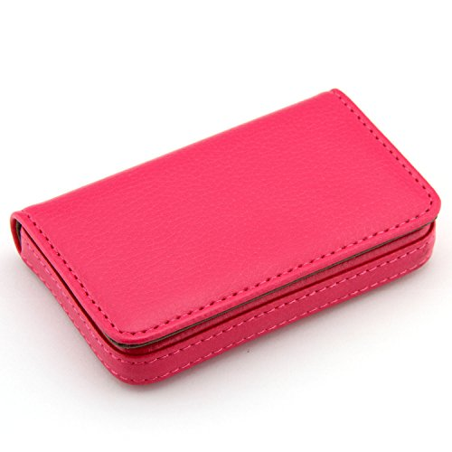 Partstock(TM) Flip Style Leather Business Name Card Wallet / Holder 25 Cards Case 4L x 2.8W inches with Magnetic Shut.(Rose red)