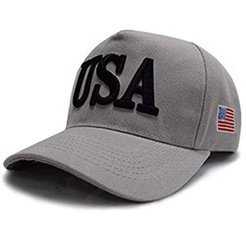 - USA Baseball Cap Polo Style Adjustable Embroidered Dad Hat American Flag for Men and Women (Gray)