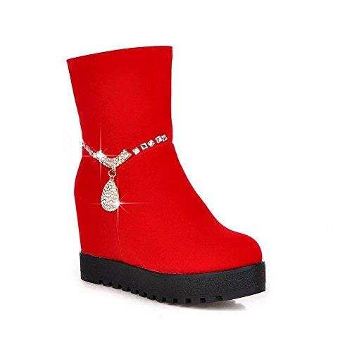 VogueZone009 Damen Niedrig-Spitze Reißverschluss Reißverschluss Hoher Absatz Stiefel, Rot, 40