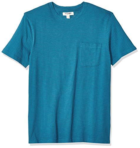(Goodthreads Men's Short-Sleeve Striped Slub Crewneck Pocket T-Shirt, Teal, Medium )