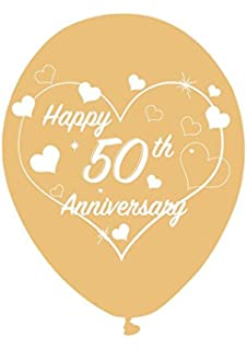 50th golden wedding anniversary banner wall decoration 1 banner happy 50th golden wedding anniversary latex 11 gold balloons with white heart design special junglespirit Choice Image
