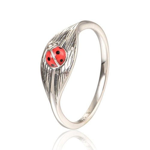 925 Sterling Silver Ladybug Shape Animal Ring Gift for