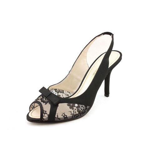 (Caparros Hannah Women's Peep-Toe Lacy Slingback Heels (6M, Black Satin))