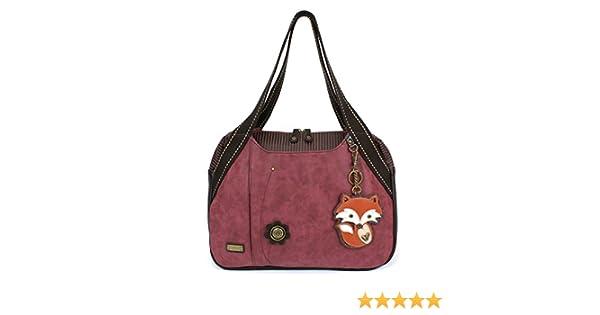 d2449cf96314 Amazon.com  Chala Handbag Shoulder Purse Tote Bag with Animal Purse Charm  (835GY) (Burgundy Fox)  Shoes