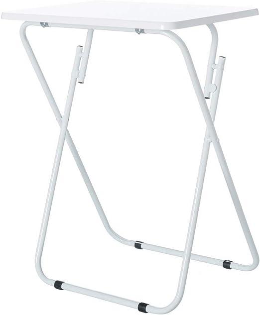 Mesita Auxiliar Plegable de Metal y Madera DM Blanca de 48x38x66 cm - LOLAhome