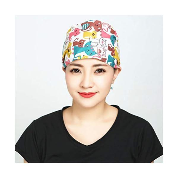 2 piezas Gorra de trabajo absorbente de sudor Algodón puro Sombrero de belleza para hombres mujeres absorción transpirabilidad suave y absorción de sudor Sombrero de belleza 4
