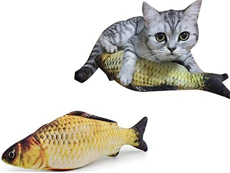 Coolfm Catnip Toys Set Simulation Fish Shape Doll Interactive Pets Pillow Chew Bite Supplies for Cat/Kitty/Kitten Fish Flop Cat Toy Catnip Crinkle Toys 3PCS (CAOY-3PCS) 5