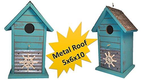 Wooden Birdhouses - Tin Roof Birdhouse - Cozy Coastal Birdhouses for Outdoors Hanging - Chickadee Birdhouse - Finch Birdhouse - Wren Birdhouse - Home Garden Decor - Nautical Ships ()