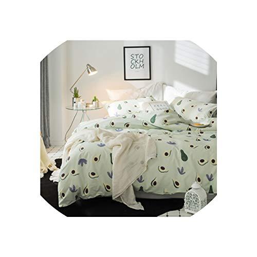 (Maja Shop-Bedspread Light Green Fruits Bedding Set Cotton Fabric 3/4Pcs Twin Queen King Size Duvet Cover Flat Sheet Pillow Cases,20182003,Queen 4Pcs,China)