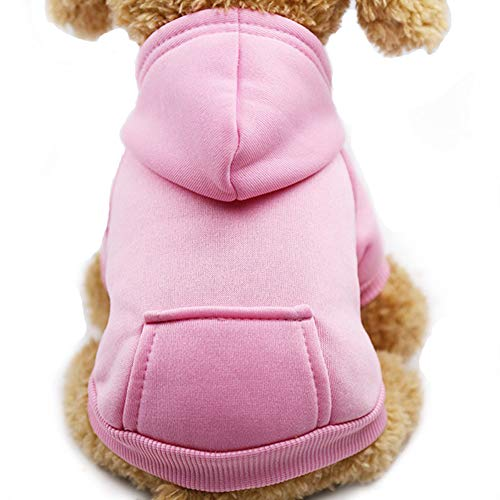 Fashion Focus On New Winter Dog Hoodie Sweaters with Pockets Cotton Warm Dog Clothes for Small Dogs Chihuahua Coat Clothing Puppy cat Custume (Pink, Large) -