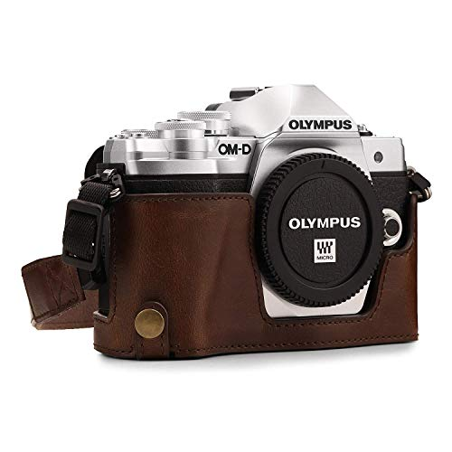 Megagear MG1351 Olympus OM-D E-M10 Mark III Ever Ready Leather Camera Half Case and Strap, with Battery Access, Dark Brown (Renewed)