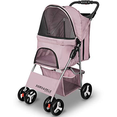 Paws & Pals 4 Wheeler Elite Jogger Pet Stroller Cat/Dog Easy Walk Folding Travel Carrier, Pink