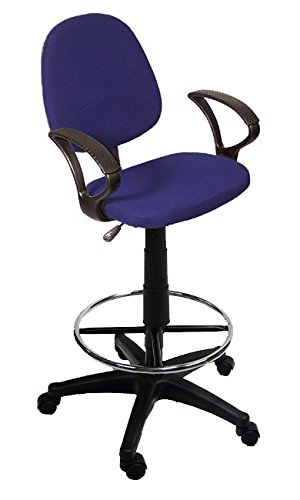 The Green Group Blue Drafting Chair With 360 Footrest & Swivel And Arm Rest by The Green Group