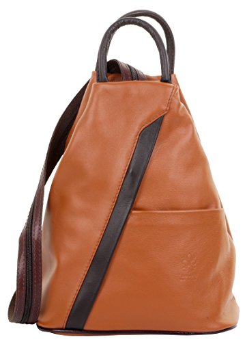 Primo Sacchi Italian Soft Napa Leather Tan & Dark Brown Top Handle Shoulder Bag Rucksack Backpack