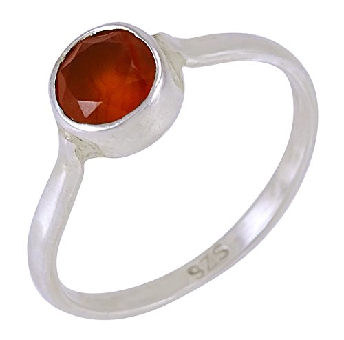 Banithani 925 Sterling Silver Amazing Carnelian Stone Band Women Finger Ring Jewelry