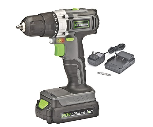 Genesis GLCD2038A 20V Lithium-ion Cordless Drill Driver, Grey/Black/Green, 3/8″
