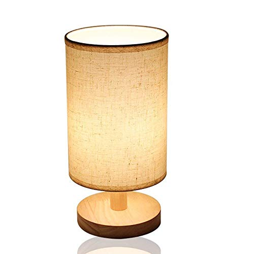 HQT Nightstand Lamp (LED Bulb Included) with Linen Fabric Shade Solid Wood Bedside Table Lamp(Warm White) for Bedroom, Living Room,Coffee Table, Office, Kids (Round)