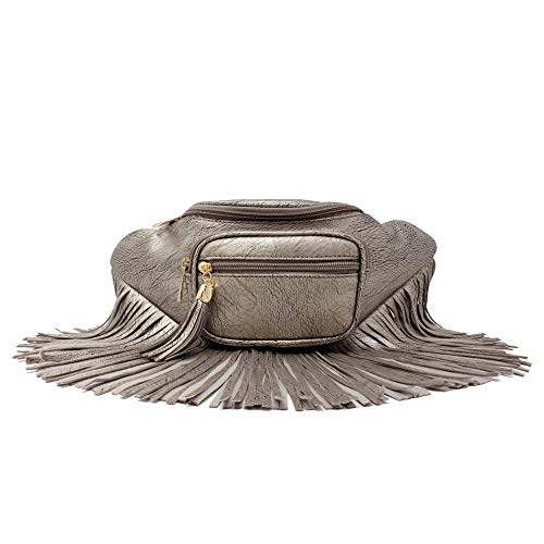 Womens Fringe Tassel Fanny Pack With Faux Leather Coachella Festival Multi Zipper Bag ...(Pewter)