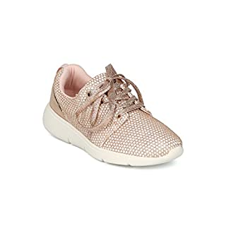 Alrisco Women Glitter Mesh Lace Up Low Top Jogger Sneaker HG96 - Rose Gold Mix Media (Size: 6.5)