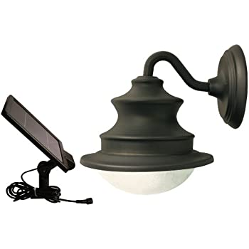 gama sonic barn solar outdoor led light fixture gooseneck wall mount brown finish