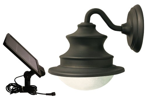 Gama Sonic Barn Solar Outdoor LED Light Fixture, Gooseneck Wall Mount, Brown Finish #GS-122