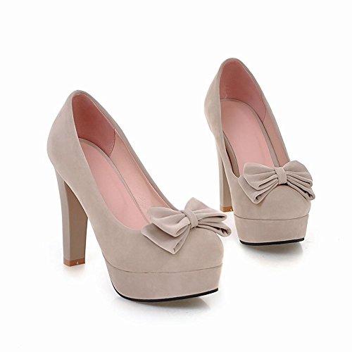 Carolbar Womens Bows Dress Elegance Platform High Heels Pumps Shoes Beige Agrqz