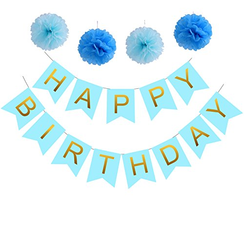 Happy Birthday Decoration Banner,Gold Letters With 4 Blue Tissue Paper Pom Poms For Birthday Party (Tiffany Blue Party Decorations)