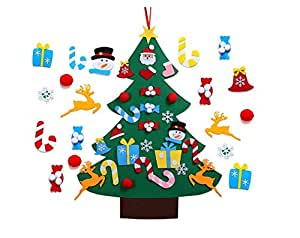 Kids DIY Felt Christmas Tree Set Wall Hanging Detachable Ornaments 26pcs Xmas Gifts Children Friendly Christmas Home Decorations 3.1FT