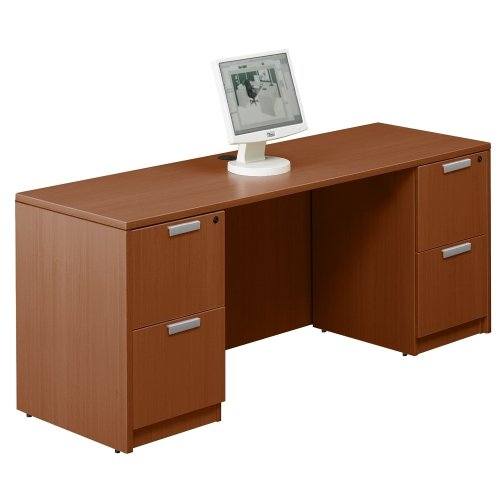 National Office Furniture Cherry Desk (Contemporary Double Pedestal Credenza 71