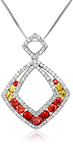 10k White Gold Shades of Orange Sapphire and Diamond Cushion Cut Pendant (Orange Sapphire Necklace)