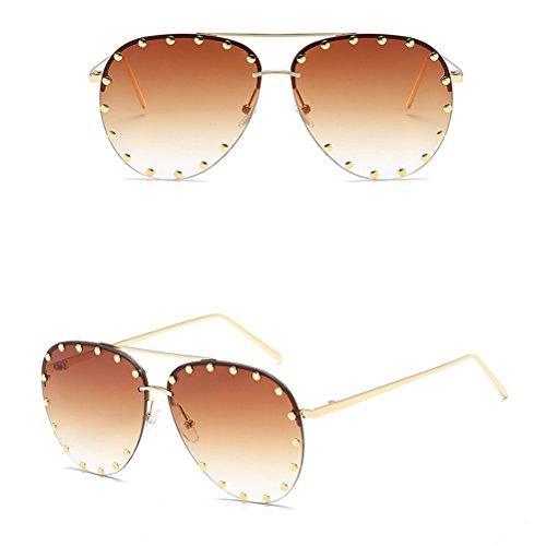 Zhuhaitf Lunettes Métal Soleil Vogue Sunglasses Bonbon et Tea Couleur pour Ladies de Cadre des Femmes Unisexe de Mode Hommes Lunettes Mens IzzHrnwp