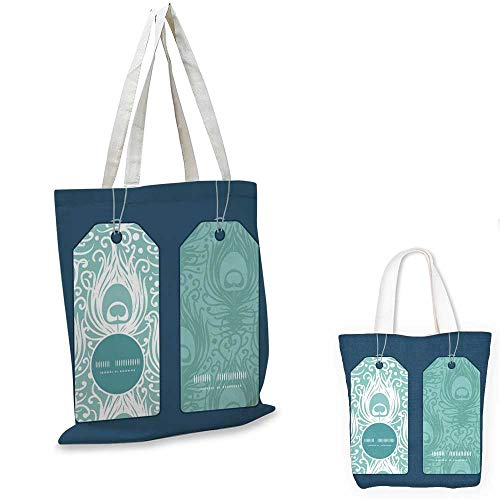 thin shopping bag Vector soft peacock feathers vertical round frame pattern tags set (Leather Round Tags Bag)