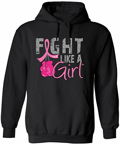 Fight Like a Girl Breast Cancer Boxing Glove Hoodie Unisex Black w/Pink Ribbon [S] ()