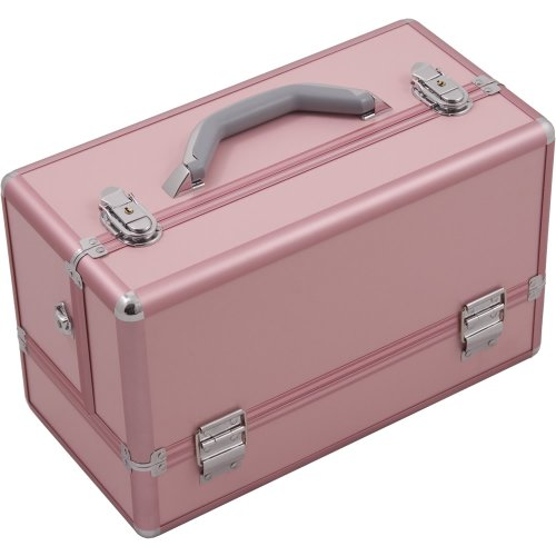 Hiker HK3201 3-Tier Professional Aluminum Case with Accordion Trays and 2 Brush Holders, 15-Inch, Smooth Pattern, Pink