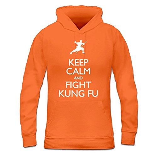 Sudadera con capucha de mujer Keep Calm And Fight Kung Fu by Shirtcity Naranja