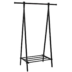 songmics heavy duty garment rack black metal clothes coat rack w 1 tier shoe. Black Bedroom Furniture Sets. Home Design Ideas
